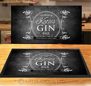 Personalised Gin Bar Grunge Runner MAT - Black & White Bar mat - *ANY NAME*