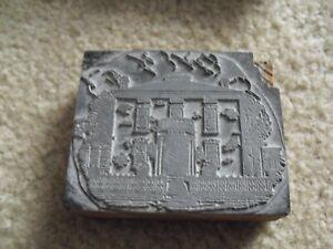 Vintage Wood Metal Letterpress Print Block Stamp Fancy Creepy House