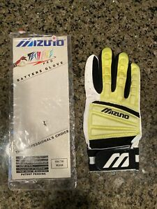 VINTAGE Mizuno Techfire Pro Batting Glove Adult Medium Yellow - Ricky Henderson