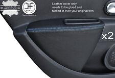 Blue stitch 2X porte arrière carte accoudoir couverture de peau pour renault clio MK4 06-12