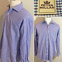 PETER MILLAR Blue Purple Check Cotton Mens Shirt Long Sleeve Button Down Size L