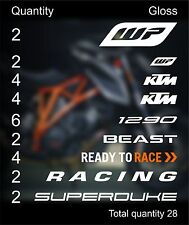 KTM superduke 1290 aufkleber sticker decal sponsorship WP