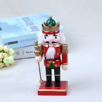 Classic 20cm Wood Nutcracker Soldier Figure Figurine Xmas Home Ornament Red