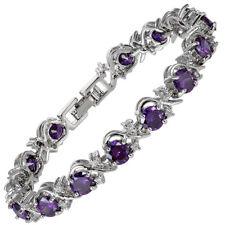Melina Jewelry Rhinestone Round Cut Purple Amethyst Tennis Statement Bracelet