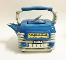 NEW BLUE SKY BLUE+GRAY+WHITE CERAMIC ANTIQUE RADIO TEAPOT,TEA,COFFEE POT