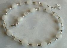 Perlen Kette Halskette Collier Polarisperlen weiß Würfel Silber NEU