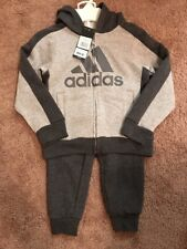 NEW Adidas Baby Boys's 2-Pc Jacket Pants Set Outfit 4T Tracksuit Gray $54