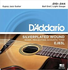 D'Addario EJ83L Gypsy Jazz, Ball End Guitar Strings Light, 10-44