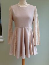 DRESS SIZE 12/14 BY SOMA CROCHET LACE SLEEVES & INSERTS LINED OATMEAL RP £80 BNT