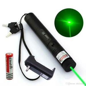 500 Miles 532nm Green Laser Pointer Star Beam Rechargeable Lazer+Battery+Charger
