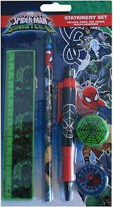 Marvel Spiderman Stationery Set includes Pencil, Eraser, Pen, Ruler & Sharpener