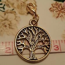 Gold Tree of Life & Love Clip on Charm / Pendant for Necklace Bracelet Locket
