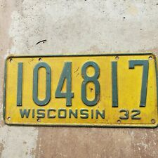 1932 Wisconsin License Plate original 32 Ford Chevrolet Dodge Buick deuce coupe