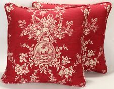 """Set of 2 18"""" Red Country Bird Toile Handmade Decorative Throw Pillow Covers"""