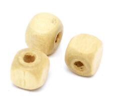 300 Stück Holzperlen Eckig, Naturell, 8x8mm, Loch 2mm