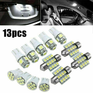 13x Lights Interior Package Kit for Dome License Plate Lamp Bulbs Pure White LED