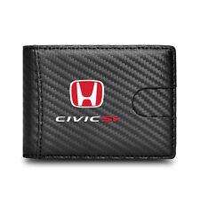 Honda Civic Si Black Slim Leather Carbon Fiber Patterns RFID Blocking Wallet