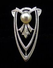 Vintage Mikimoto K9 White Gold 6.5MM Pearl Dress Clip/ Brooch 3.8 G