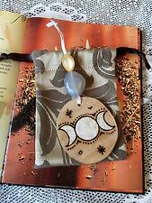 Blessed Be Wall Hanging. Triple Moon Wooden Charm Amulet Decoration. Witch Wicca