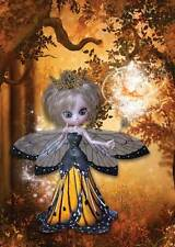 Autumn Fairy Birthday Card for women and girls, magical golden glow in forest