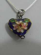 Antique Chinese Europe sterling silver chain enamel pendant original (KP)