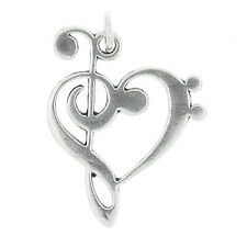 STERLING SILVER LOVE MUSIC TREBLE BASS CLEF CHARM PENDANT