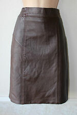 """Brown Leather Stretch High Waist Pencil Office Knee Length Skirt Size UK6/8 L21"""""""