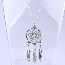 Feather Leaf Dreamcatcher Pendant Chain Necklace Women Lady Fashion Jewellery