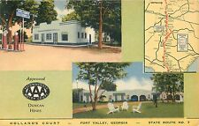 Fort Valley, Georgia - Holland'S Court - Gas Pumps - Duncan Hines Postcard View