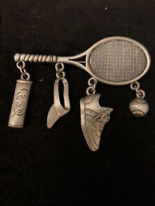 Vintage Tennis Themed Novelty Brooch