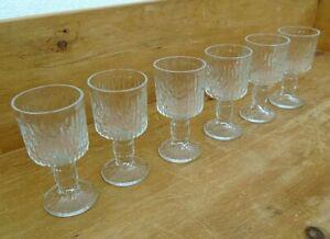 Set 6 Vintage Ravenhead Siesta Stem Sherry Glasses Port Shot Liqueur Bark Effect