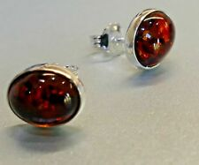 Baltic Amber Oval Cognac Stone Mounted Sterling Silver Stamped Stud Earrings