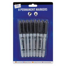 8 x Quality Permanent Black Markers With Bullet Tip - Fast Drying - Non Toxic