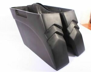 """4"""" Bagger Stretched Extended Saddlebags for Harley Touring Softail Led Lights"""