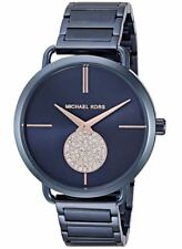 NEW Michael Kors MK3680 Portia Quartz Ladies Watch Blue Dial Rose gold Paved