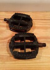 """NOS Union 9/16"""" W. Germany Pedals Vtg Resin MTB K10 490 IB314"""