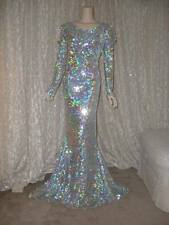 Drag Queen Burlesque Silver AB Sequin Dress Gown L XL 14 16 Stage Show