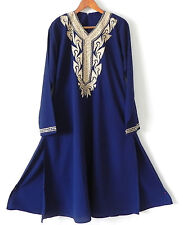 Vtg Lounge/Cover-Up Dress Embroidery Trim Navy Blue Long Sleeve Slits Size L