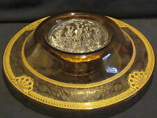 Glastonbury Lotus Gothic Plantagonet Amber Console Bowl w/frog