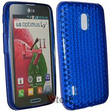 Cover Custodia Per LG L7 II 2 Optimus P710 Blu Silicone Gel TPU + Pellicola