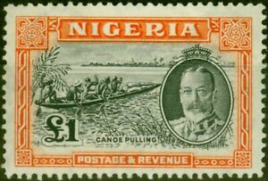 Nigeria 1936 £1 Black & Orange SG45 Good Lightly Mtd Mint