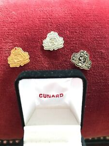 Cunard Members Lapel Pin Set Gold Platinum & Diamond