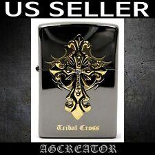 New Japan Korea zippo lighter tribal cross emblem black ice US SELLER