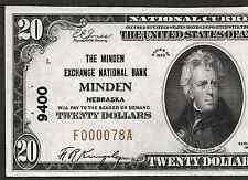 1929 $20  ❀❀ MINDEN, NEBRASKA ❀❀  THE MINDEN EXCHANGE NB    VERY BRIGHT&CRISP