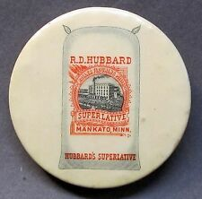c. 1910  R.D. HUBBARD SUPERLATIVE FLOUR Mankato MINN. celluloid pocket mirror *