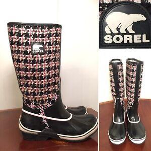 SOREL Size 10 Sorellington TXT Pink Black Tweed Knit Pull-On Rubber Rain Boots