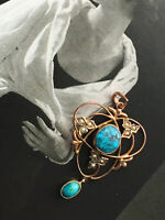 Edwardian Fine 9ct GOLD PENDANT Natural TURQUOISE Seed PEARLS