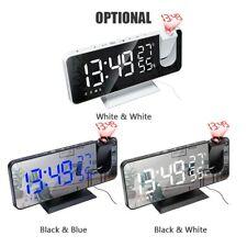 Digital Alarm Clock Led Display Portable Battery Fm Radio Time Projector Mirror