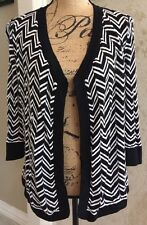 White House Black Market Black/White Chevron 3/4 Sleeve Knit Tunic- size XS/S