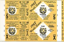 1968 World Series Game 5 @ Detroit Salesman Sample Ticket Sheet !
